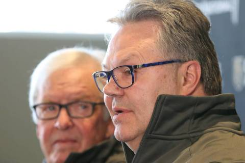 Golden Knights owner Bill Foley, left, listens as Kelly McCrimmon, the new General Manager, spe ...