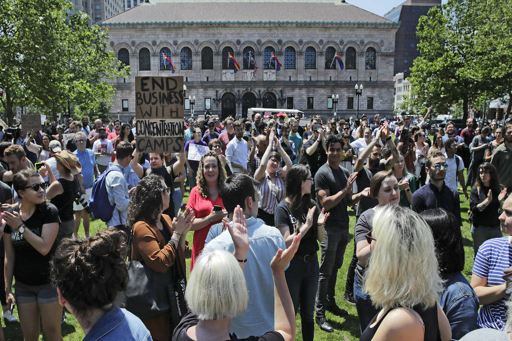 Wayfair employees and supporters rally at Copley Square in Boston, Wednesday, June 26, 2019. Em ...