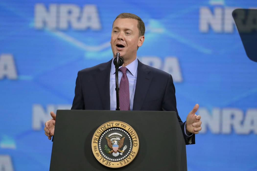 A April 26, 2019, file photo shows National Rifle Association Institute for Legislative Action ...