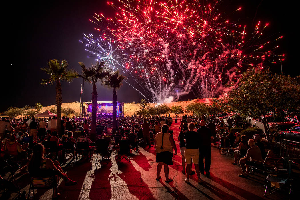 People watch the fireworks display during Mesquite Rockets Over Red Mesa at the Eureka Casino R ...