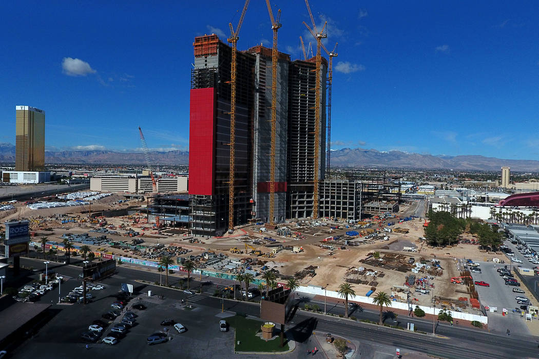 An aerial photo of the Chinese-themed Resorts World Las Vegas under construction on the former ...