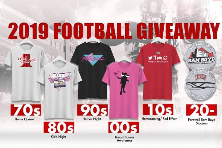 Giveaway T-shirts available to season-ticket holders. (Twitter/@UNLVathletics)