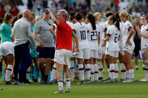 United States' Megan Rapinoe, front, celebrates at the end of the Women's World Cup round of 16 ...