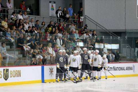 Vegas Golden Knights fans watch during the first day of development camp at City National Arena ...