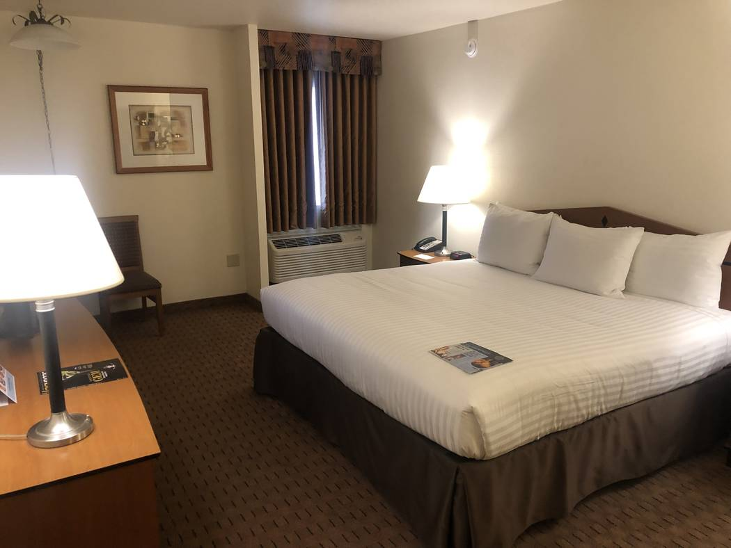 A pre-renovation guest room at the Strat is shown on Tuesday, June 25, 2019 (John Katsilometes/ ...