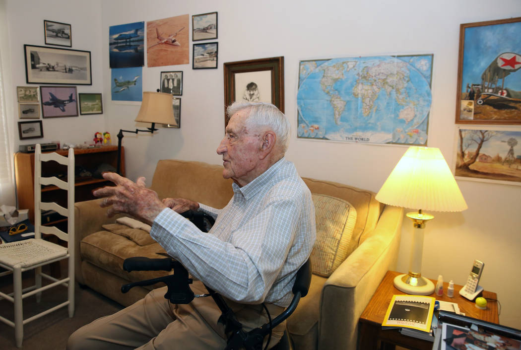 U. S. Army Air Corps and the U.S. Air Force pilot James Parker, 97, speaks during an interview ...