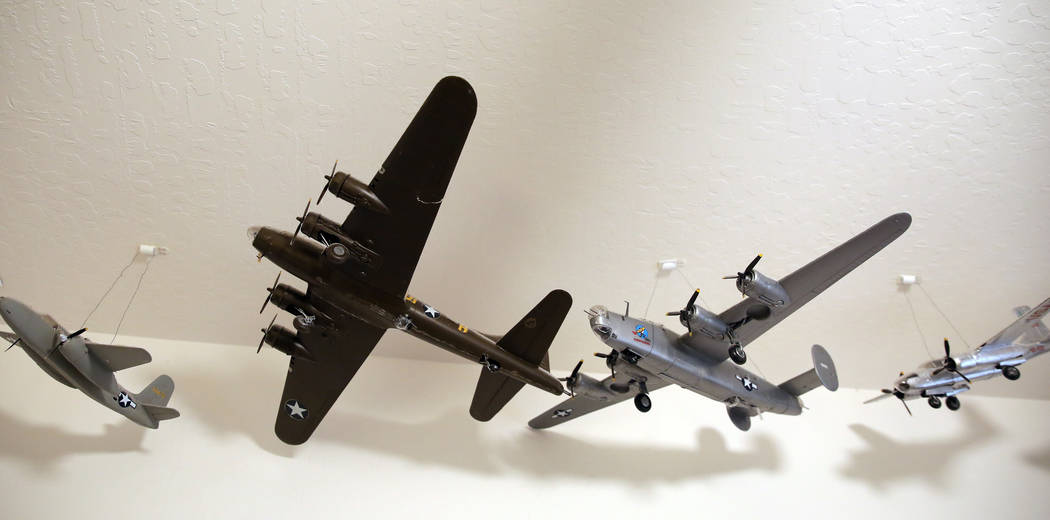 Model warplanes that U. S. Army Air Corps and the U.S. Air Force pilot James Parker flew during ...