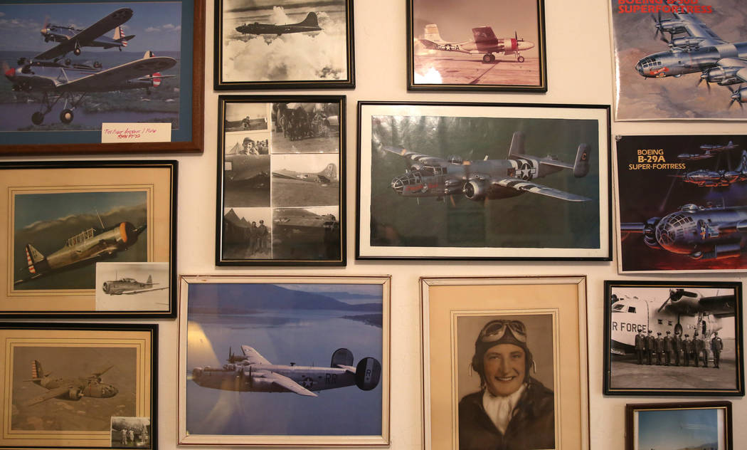 A portrait of U. S. Army Air Corps and the U.S. Air Force pilot James Parker and photographs of ...