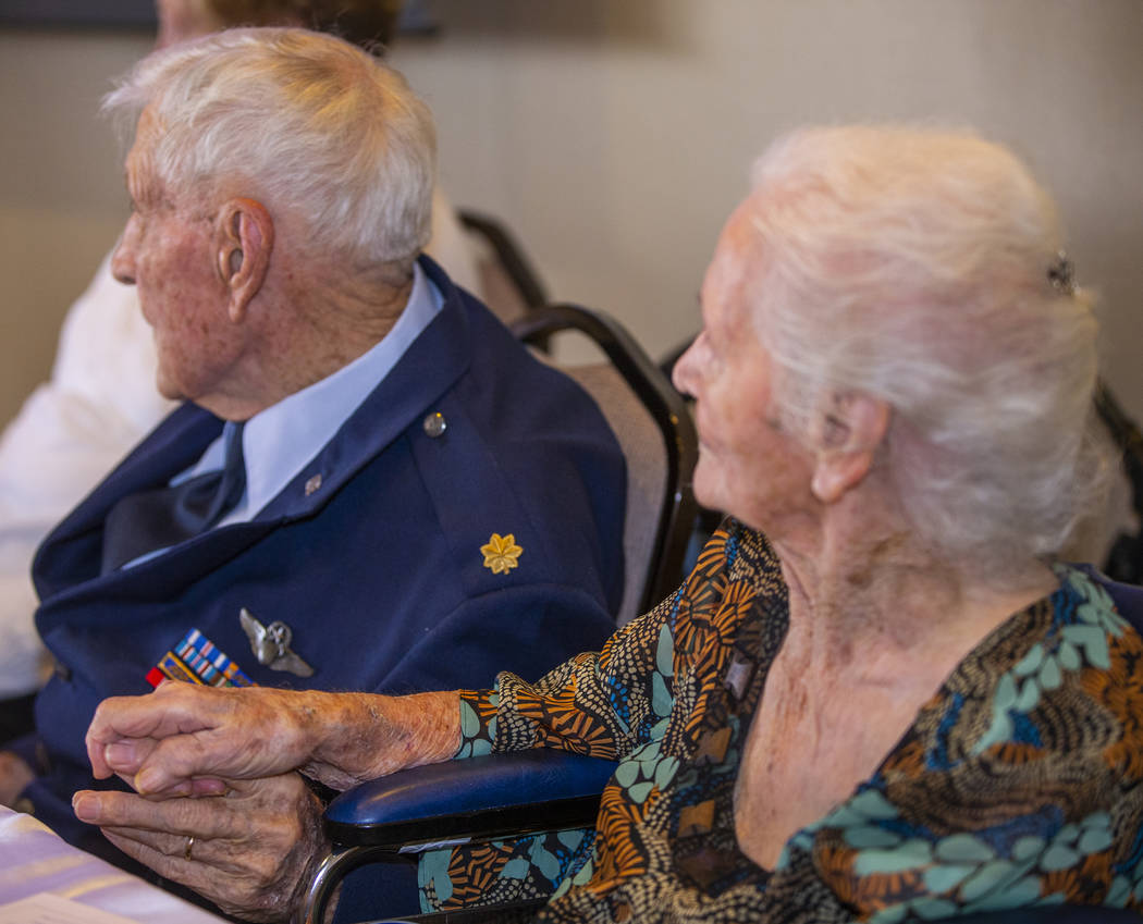 "James ""Jim"" A. Parker and wife Joyce hold hands after 76 years of marriage as The Vet ..."