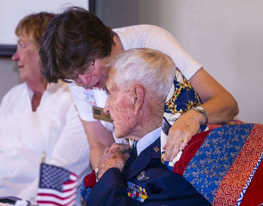"Janice Wilmot with Quilts of Valor presents James ""Jim"" A. Parker with a handmade gif ..."