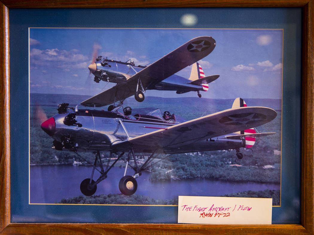 "Photo on display of the first aircraft flown by veteran pilot James ""Jim"" A. Parker, ..."