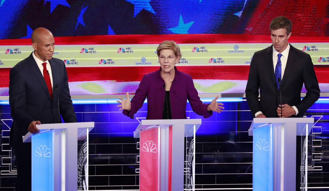 Democratic presidential candidate Sen. Elizabeth Warren, D-Mass, speaks at the Democratic prima ...