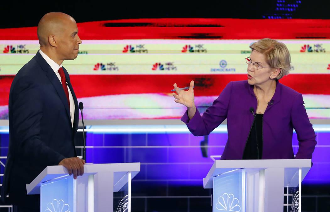 Democratic presidential candidate Sen. Elizabeth Warren, D-Mass., gestures toward New Jersey Se ...