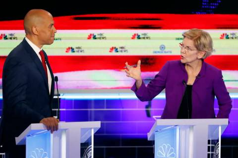 Democratic presidential candidate Sen. Elizabeth Warren, D-Mass., gestures towards New Jersey S ...