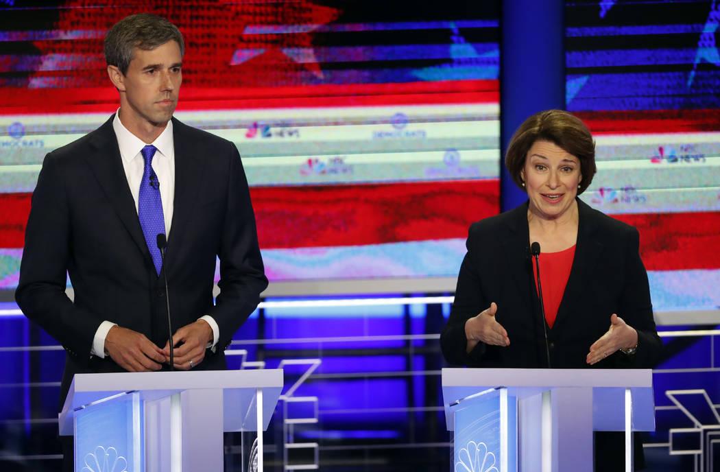 Democratic presidential candidate Sen. Amy Klobuchar, D-Minn., speaks at a Democratic primary d ...
