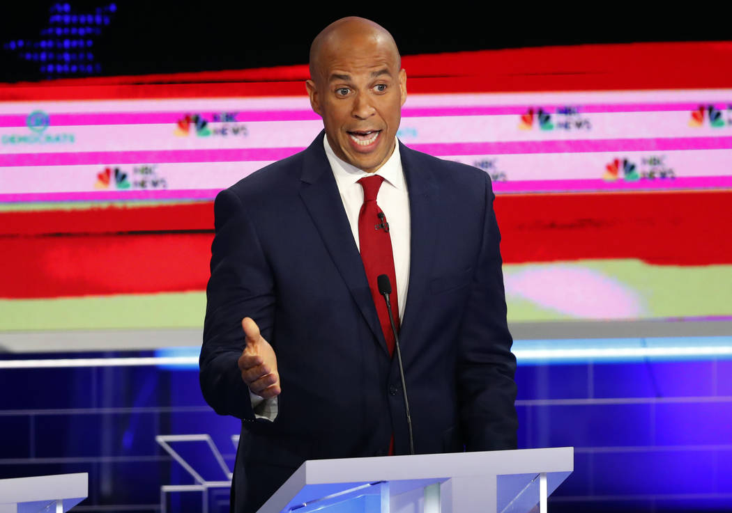 Democratic presidential candidate Sen. Cory Booker, D-N.J., speaks at a Democratic primary deba ...