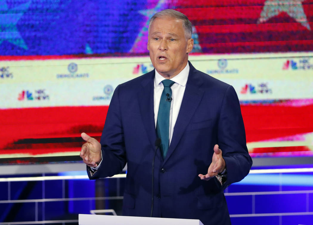 Democratic presidential candidate Washington Gov. Jay Inslee speaks during a Democratic primary ...
