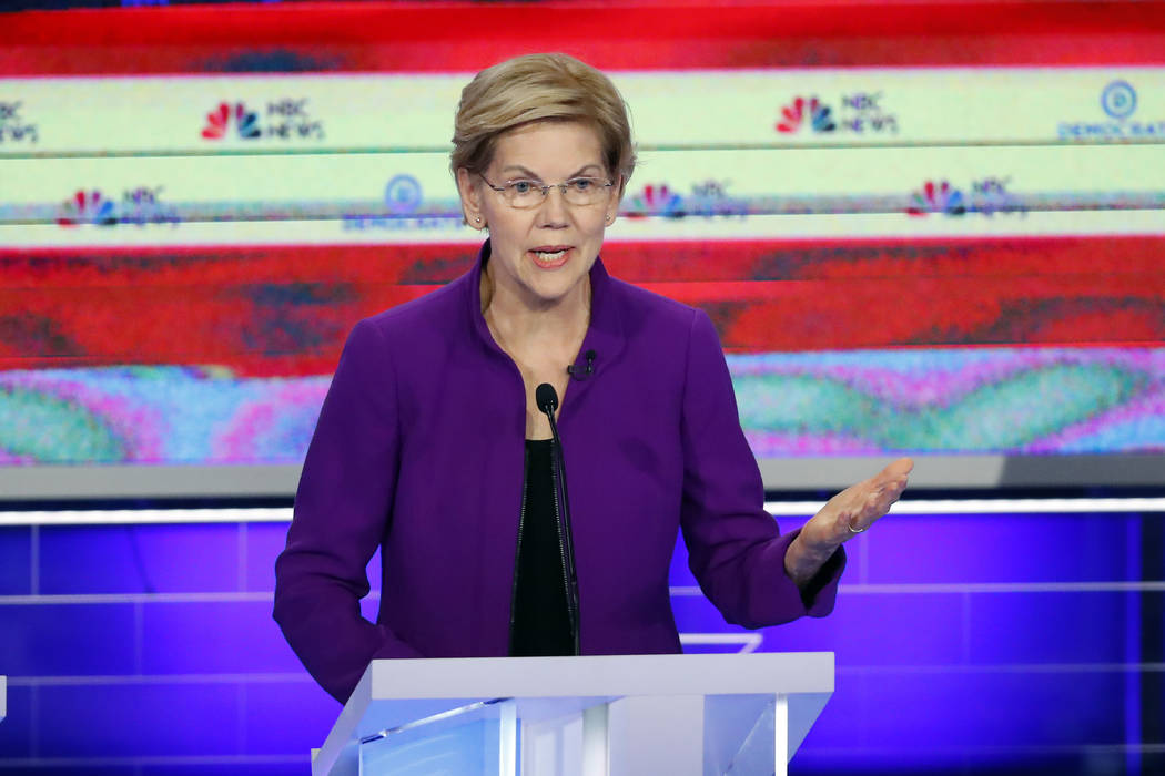 Democratic presidential candidate Sen. Elizabeth Warren, D-Mass., speaks during a Democratic pr ...