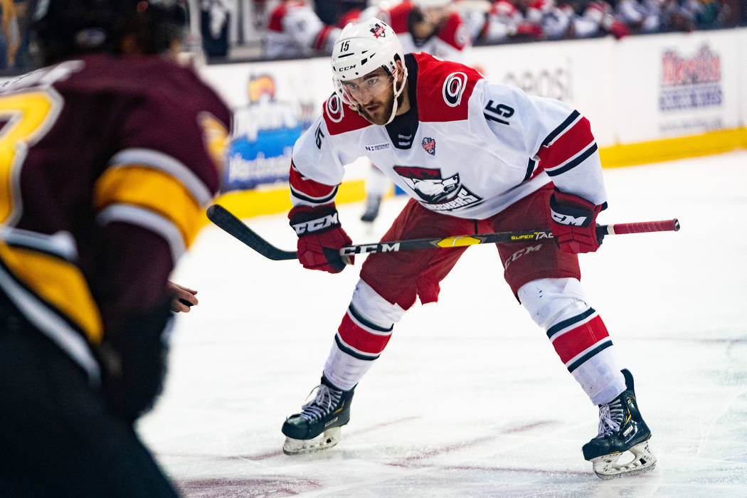 Charlotte Checkers center Nicolas Roy (15) skates against the Chicago Wolves on June 6, 2019, d ...