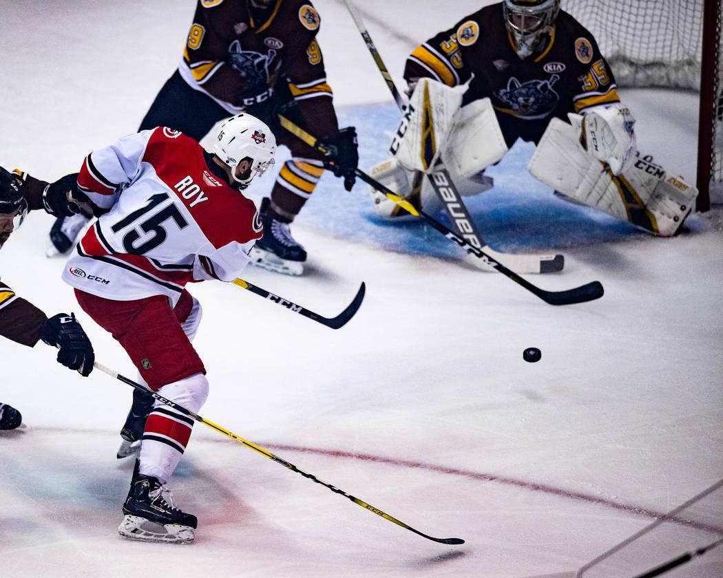 Charlotte Checkers center Nicolas Roy (15) skates against the Chicago Wolves on June 6, 2019, d ...