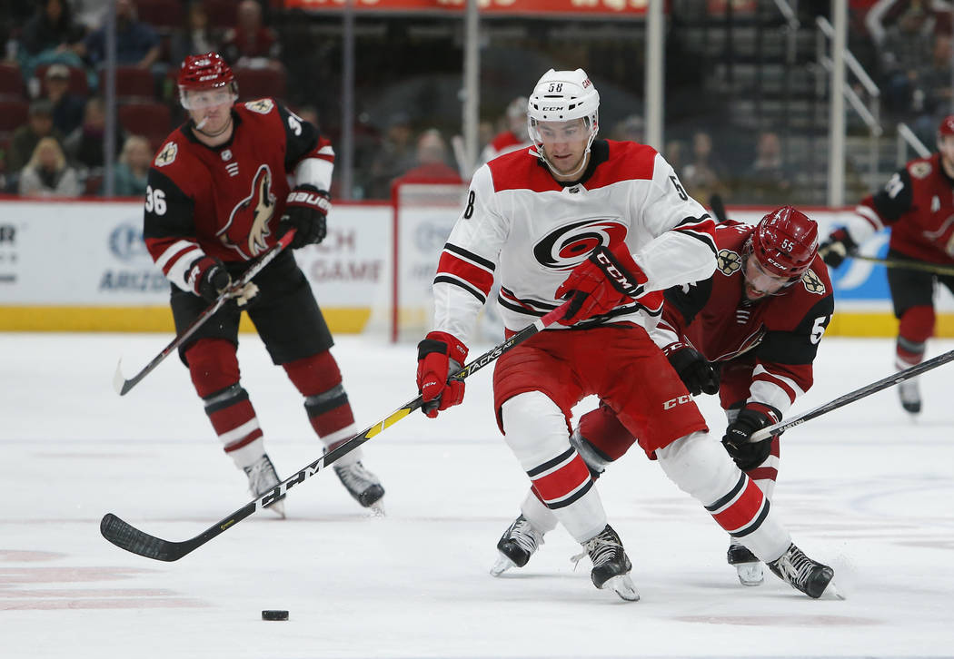 Carolina Hurricanes center Nicolas Roy (58) during an NHL hockey game against the Arizona Coyot ...