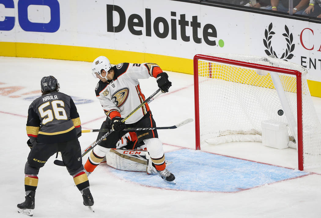 Vegas Golden Knights left wing Erik Haula (56) scores on the Anaheim Ducks during the second pe ...