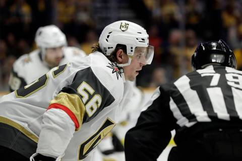 Vegas Golden Knights center Erik Haula (56), of Finland, plays against the Nashville Predators ...