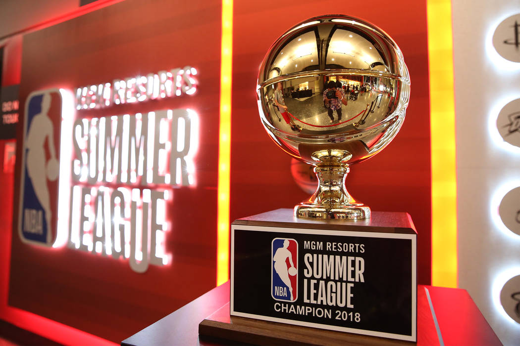 The NBA Summer League championship trophy on display at the Thomas & Mack Center in Las Veg ...