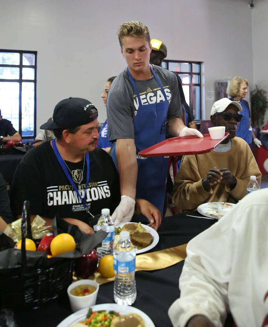 Vegas Golden Knights Development Camp participant, Mitchell Chaffee of Rockford, Mich., serves ...