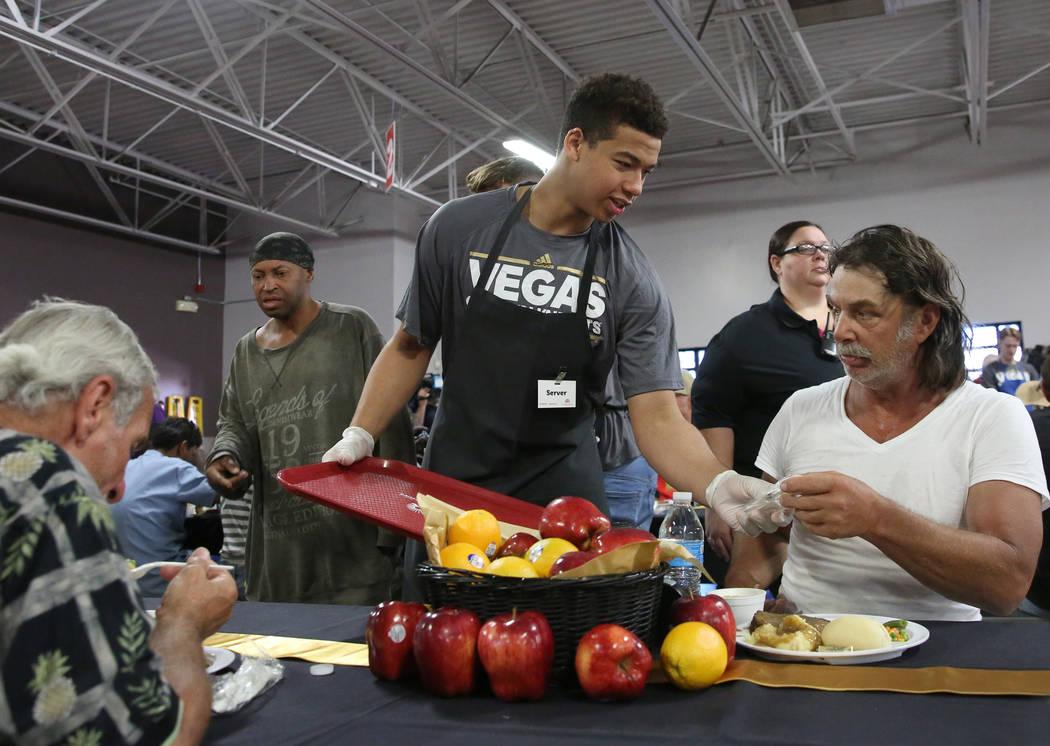 Vegas Golden Knights Development Camp participant, Isaiah Saville of Anchorage, Alaska, serves ...