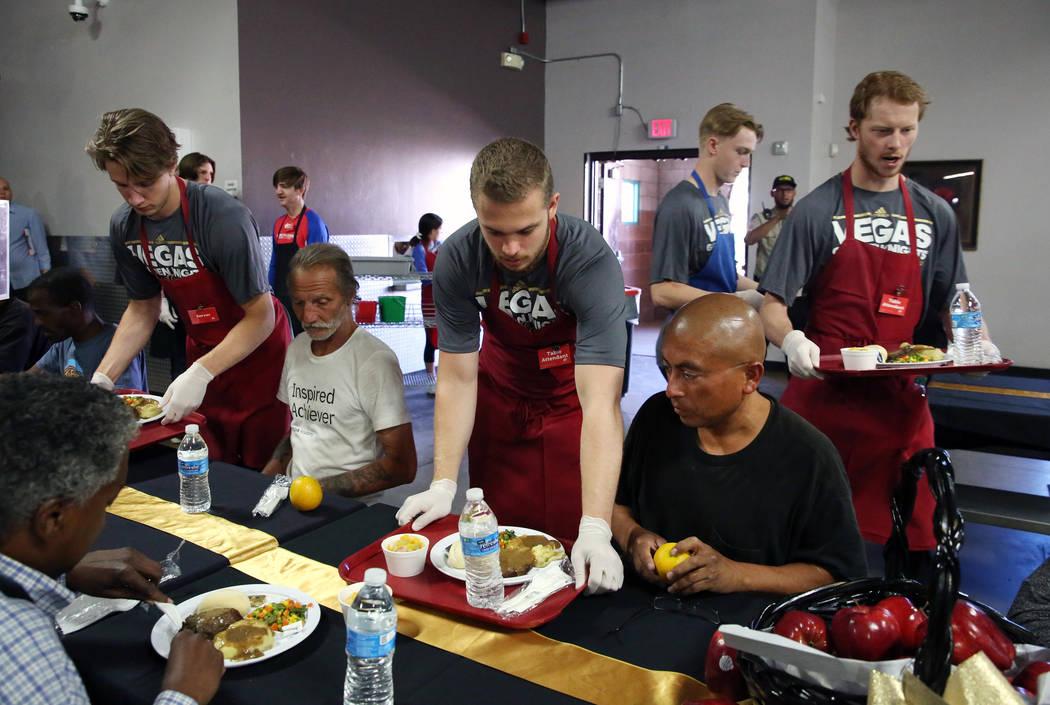 Vegas Golden Knights Development Camp participants, including Jonas Rondbjerg, left, of Denmark ...