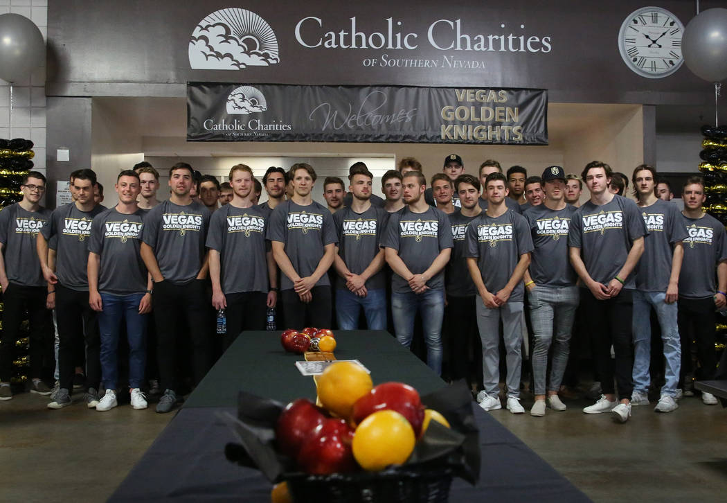 Vegas Golden Knights Development Camp participants pose for a photo prior to participating in a ...