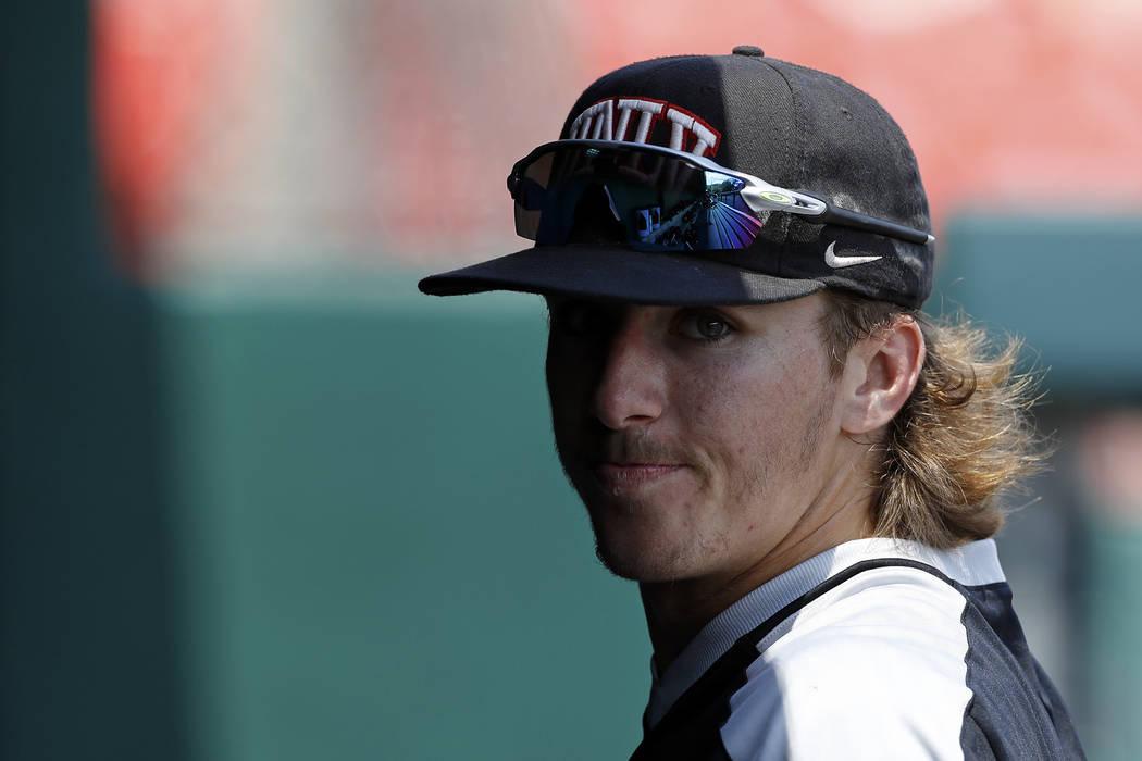 UNLV's Bryson Stott (10) looks prior to an UNLV at University of Houston NCAA college baseball ...