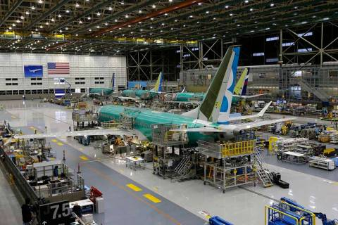 A Dec. 7, 2015, file photo shows the second Boeing 737 MAX airplane being built on the assembly ...