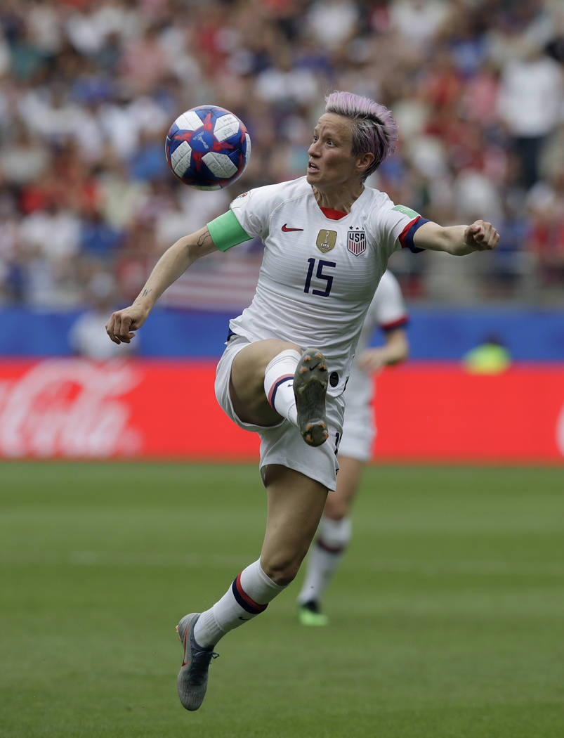 United States'Megan Rapinoe controls the ball during the Women's World Cup round of 16 soccer m ...