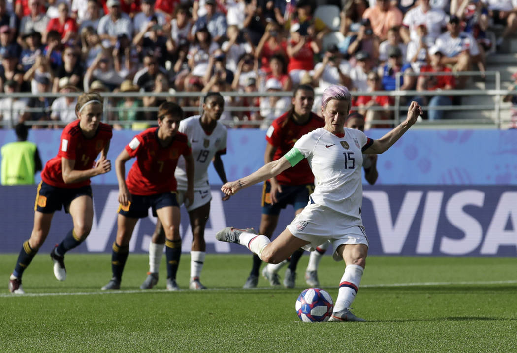 United States'Megan Rapinoe scores her side's second goal from a penalty spot during the Women' ...