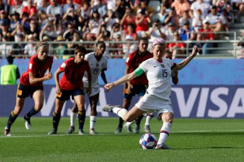 United States' Megan Rapinoe scores her side's second goal from a penalty spot during the Women ...