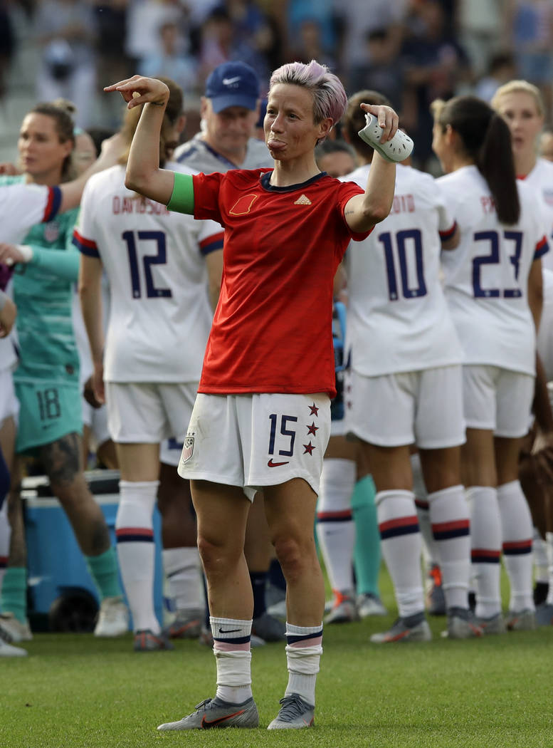 United States'Megan Rapinoe celebrates at the end of the Women's World Cup round of 16 soccer m ...