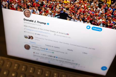 President Donald Trump's Twitter feed is photographed on an Apple iPad in New York, Thursday, J ...