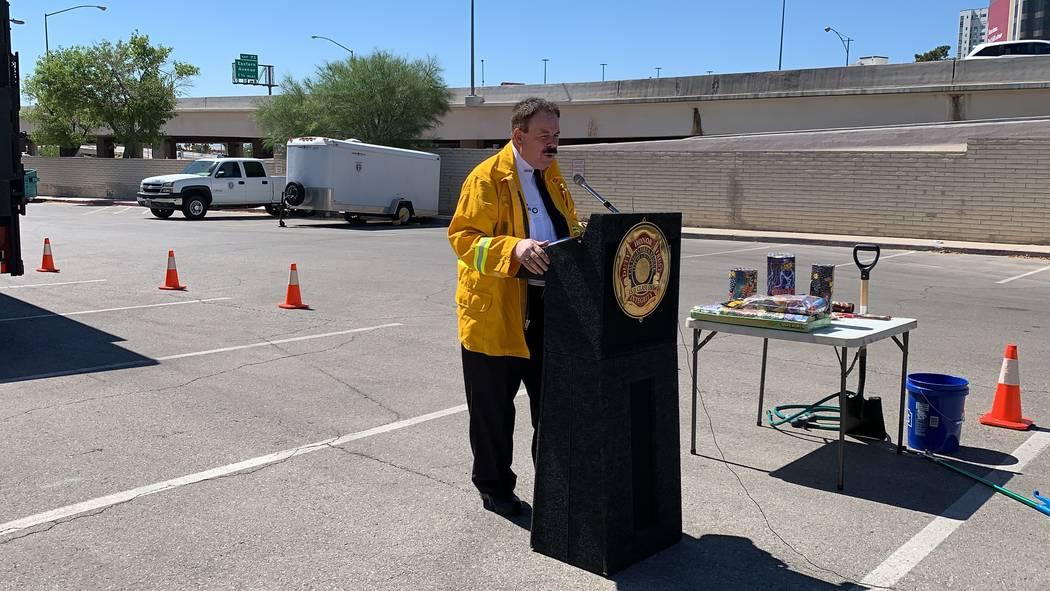 Las Vegas Fire Department spokesman Tim Szymanski advised residents to keep a bucket of water a ...