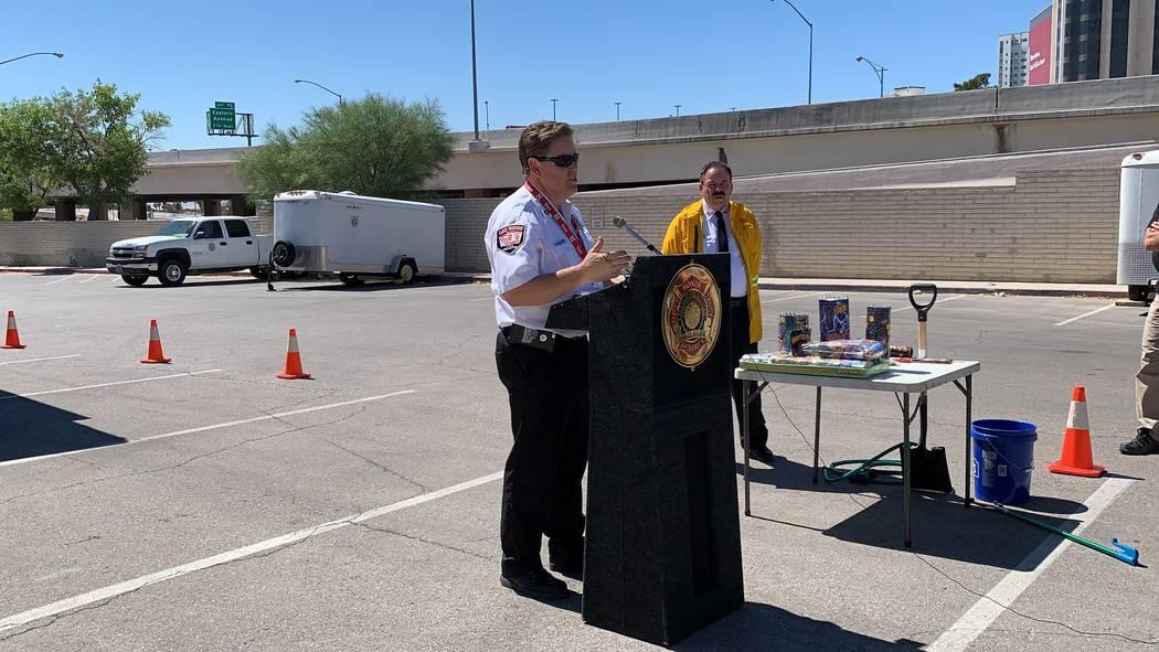 Las Vegas fire inspector Scott Thompson said residents should report illegal fireworks through ...