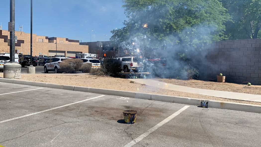 The Las Vegas Fire Department had a demonstration of safe and illegal fireworks on Thursday, Ju ...