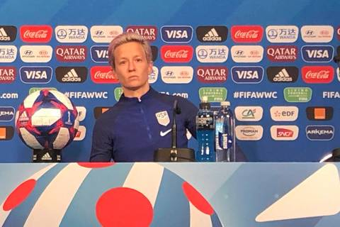 U.S. women's national team soccer player Megan Rapinoe speaks at a news conference on Th ...
