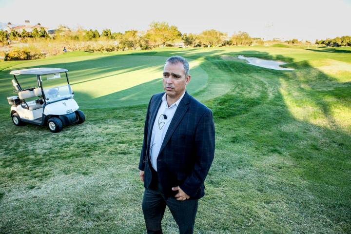 Yohan Lowie, CEO and founder of EHB Companies, views the landscape at Badlands Golf Course on O ...