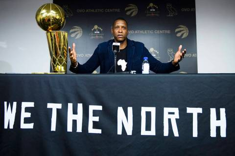 Toronto Raptors NBA basketball team president Masai Ujiri speaks to the media during an end-of- ...