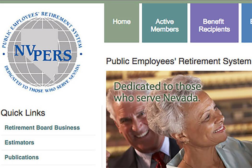 Nevada's public employee pension fund website (Screengrab/Nevada Public Employees' Retirement ...
