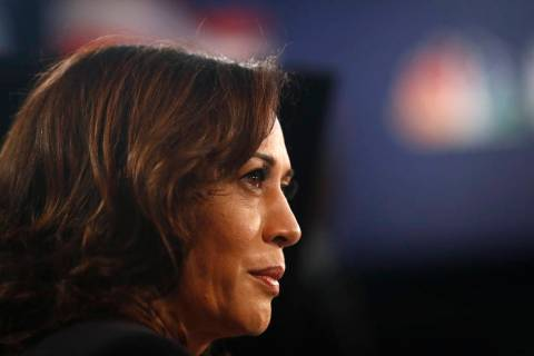 Democratic presidential candidate Sen. Kamala Harris, D-Calif., listens to questions in the spi ...