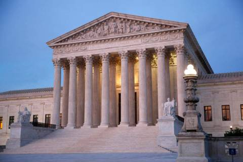 In this May 23, 2019 photo, the U.S. Supreme Court building at dusk on Capitol Hill in Washingt ...