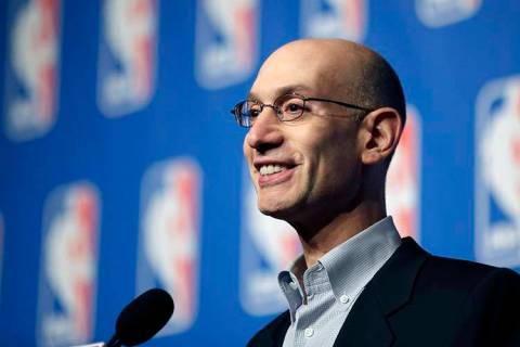 NBA Commissioner Adam Silver speaks at a news conference during the NBA board of governors meet ...