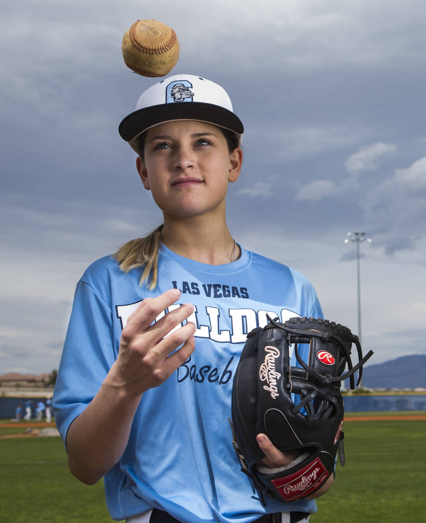 Centennial sophomore Denae Benites on the baseball field at Centennial High School in Las Vegas ...